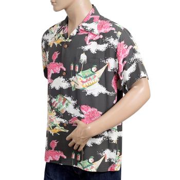 Sun Surf Mens Regular Fit Short Sleeved Oriental Festival Print SS37773 Brown Rayon Hawaiian Shirt SURF8588