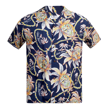 Sun Surf Short Sleeve Cuban Collar SS37774 Regular Fit Navy Hawaiian Shirt with Dreams and Pineapples Print SURF8590