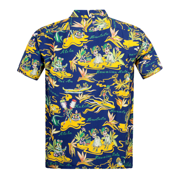 Sun Surf Mens Rayon Made Cuban Collared SS37771 Regular Fit Short Sleeve Navy Hawaiian Shirt with Hawaiian Hula Print SURF8585