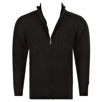 Thug or Angel Sweater Men's Jet Black collection black full zip ribbed knit cardigan. JBLK3924