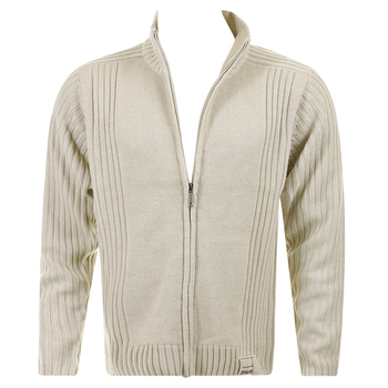 Thug or Angel Men's Jet Black collection  stone full zip knitted cardigan. JBLK3884