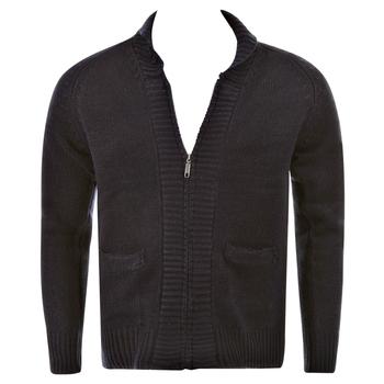 Thug or Angel Men's Jet Black collection  navy zip-up  showl collar knitted cardigan. JBLK3905