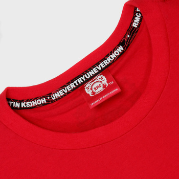 RMC Jeans Red Crew Neck Short Sleeve Regular Fit T-Shirt with Half Monkey Prints REDM0032
