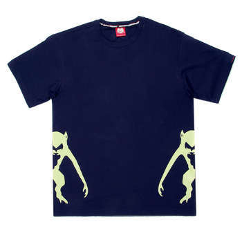 RMC Jeans Navy Blue Crew Neck Short Sleeve Regular Fit T-Shirt with Half Monkey Prints REDM0034