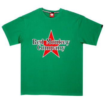 RMC Jeans Red Star Printed Regular Fit Short Sleeve Crew Neck Green T-Shirt REDM0039
