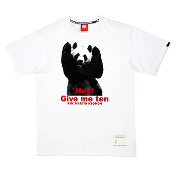 RMC Jeans Limited Edition Panda and Wording Printed Regular Fit Crew Neck White T-Shirt REDM0041