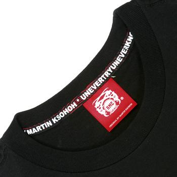 RMC Martin Ksohoh Black Crew Neck Short Sleeve Regular Fit Cotton T Shirt with Tengu Print REDM0052