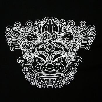 RMC Martin Ksohoh Black Crew Neck Short Sleeve Regular Fit Cotton T Shirt with ORIENTAL LION Print REDM0054