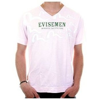 Evisu Short Sleeve Evisemen Regular Fit Pale Pink V Neck T-Shirt EVIS3139