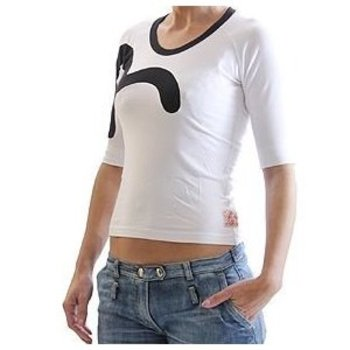 Evisu White Stretch T Shirt for Women with Black Collar Trim and Logo Insert EVIS0510