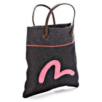 Evisu Selvedge Denim Mini Shopper Bag with Leather Handles EVIS0842