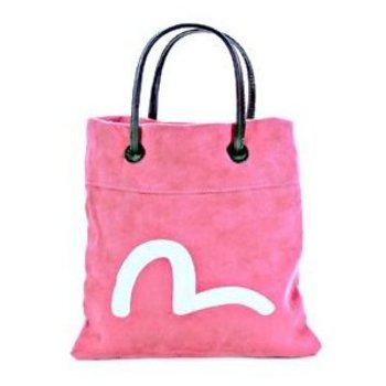 Evisu Suede Mini Shopper Bag in Pink with Ecru Painted Logo EVIS0844
