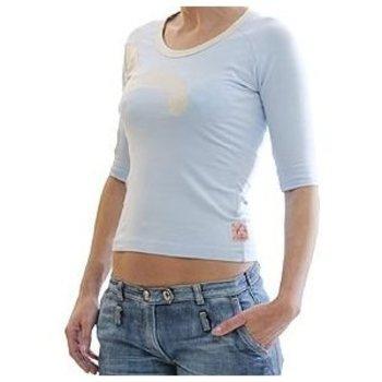 Evisu Vintage Sky Blue Stretch T Shirt with Original Beige Large Logo Insert EVIS0490