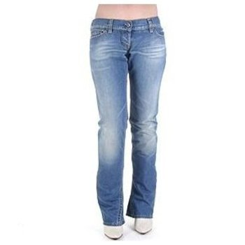 Evisu Womens Ultra Low Waist Superblasted Wash Bootcut Jeans with Zipped Back Pockets EVIS2441