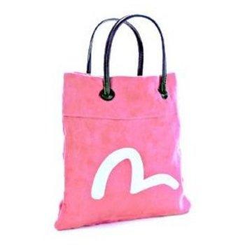 Evisu Suede Mini Shopper Bag in Pink with Ecru Painted Logo EVIS0844