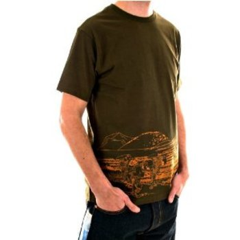 RMC Jeans Rare Toyo Story Travel People Printed Army Green Crew Neck Short Sleeve Cotton TShirt REDM5944