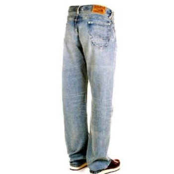 Sugar Cane Mens SC41945H Light Blue Hard Wash Vintage Cut African Cotton Selvedge Denim Jeans CANE5247