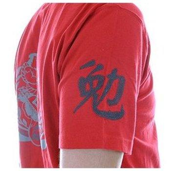 Evisu Regular Fit Short Sleeve EVISUMO LEAGUE Crew Neck T-shirt in Fire Red EVIS0791
