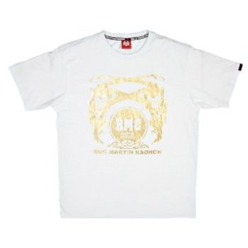 RMC Jeans 100% Cotton Mens White Crewneck Regular Fit T Shirt with Gold Printed Signature Logo REDM3512