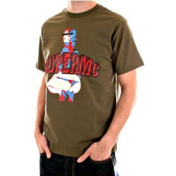 RMC Jeans Exclusive SUPERMC Printed Army Green Regular Fit Crew Neck Short Sleeve Cotton Tshirt REDM5952