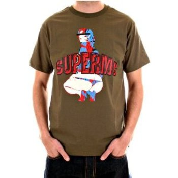 RMC Jeans Cotton Short Sleeve Crew Neck Regular Fit Army Green T Shirt with Rare SUPERMC Print REDM5952