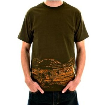 RMC Authentic Cotton Short Sleeve Crew Neck Army Green T Shirt with Toyo Story Travel People Print REDM5944