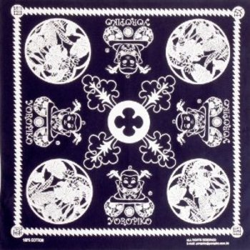 Yoropiko Turned Over and Stitched Cotton Printed Bandana in Navy YORO2943