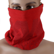 RMC Reversible Toggle and Pull Cord Equipped Fleece Head and Neck Warmer Snood Scarf in Red REDM5490