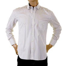 Paul Smith shirt khaki and white striped shirt 652 F 115 PS6452