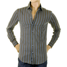 D&G Mens shirt RS0148 TN5FQ Dolce & Gabbana olive striped shirt DGM1011