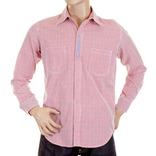 Yoropiko Long Sleeve Red Check Soft Collar Regular Fit Cotton Shirt YORO5299