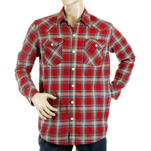 Yoropiko Mens Soft Collar Long Sleeve Red Western Regular Fit Check Shirt YORO5306