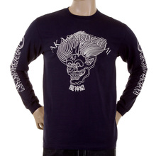 RMC Jeans Crew Neck Long Sleeve Fuijin Regular Fit Navy T-shirt with Akasarugumi Print for Men REDM5411