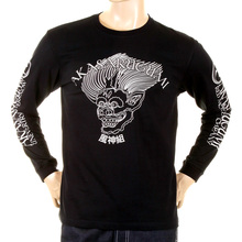 RMC Jeans Mens Black Fuijin Long Sleeve Regular Fit Crew Neck T-shirt with Akasarugumi Print REDM5410