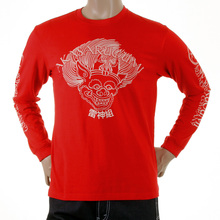 RMC Jeans Crew Neck Akasarugumi Raijin Printed Regular Fit Long Sleeve T-shirt in Red REDM5407