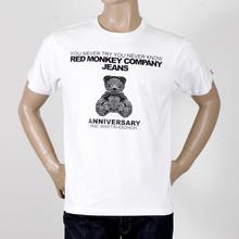 RMC White Short Sleeve Regular Fit Crew Neck T-Shirt with 8th Anniversary Teddy Bear Print REDM2786