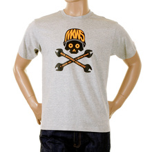 RMC Grey Regular Fit Short Sleeve Crew Neck T-shirt with 8th Anniversary Spanner Scooter Print REDM2813
