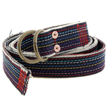 RMC Jeans Handmade Denim Belt with Rainbow Combo Embroidered Stitching and Frayed Edges REDM5453