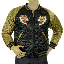 RMC Jeans Fully Reversible Black and Gold Super Exclusive Silk Quilted Jacket with Tiger Embroidery REDM5662