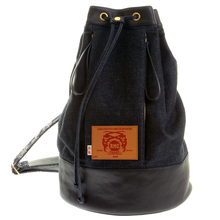 RMC Jeans Unisex Fully lined Denim with Leather Duffle Bag with Pull Cord Closure Top REDM5523