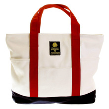 RMC MKWS Unisex White Canvas Shopper Bag with Navy Canvas Base and Red Canvas Handles REDM5589