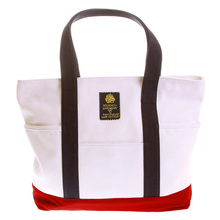 RMC MKWS Cotton Unisex White Canvas Shopper Bag with Red Canvas Base and Navy Canvas Handles REDM5588