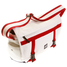 RMC MKWS Unisex 100% Cotton Large Canvas Shoulder Bag in White with Red and Navy Trim REDM5578