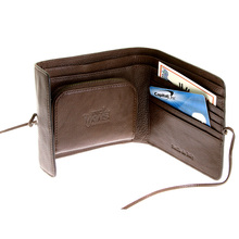 RMC Jeans Double Bill Fold Mens Italian Grain Leather Wallet in Brown with Shoe Lace REDM5697
