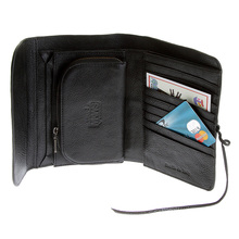 RMC Jeans Black Bill Fold Italian Leather Unisex Wallet with shoe lace tie REDM5699