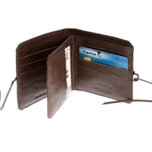 RMC Jeans Mens Grain Leather Wallet with Shoe Lace Tie Closure in Brown REDM5721