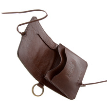 RMC Jeans Brown Grain Italian Leather Wallet with Shoe Lace Tie Closure for Men REDM5727