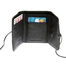RMC Jeans Italian Grain Black Leather 3 Fold Credit Card Mini Wallet for Men REDM5731