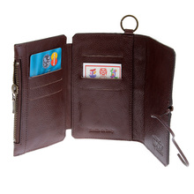 RMC Jeans Mens Italian Leather 3 Fold Horse Hair Credit Card Wallet in Brown REDM5766