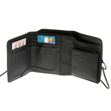 RMC Mens Black Leather  Horse Hair 3 Fold Credit Card & Coin Pouch Portrait Wallet REDM5779